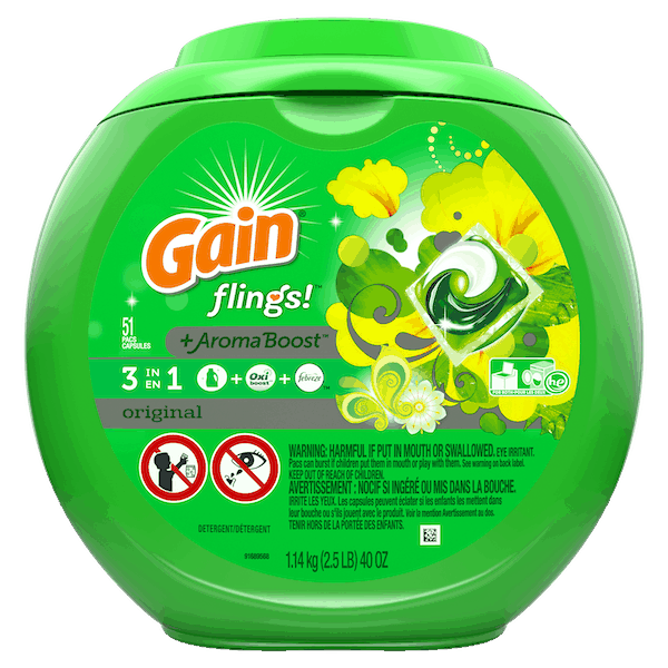 $1.50 for Gain® Flings Detergent. Offer available at multiple stores.