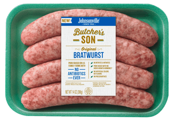 $1.25 for Butcher's Son Bratwurst. Offer available at Walmart, Hy-Vee, Food Lion, Mariano's, Dierbergs.