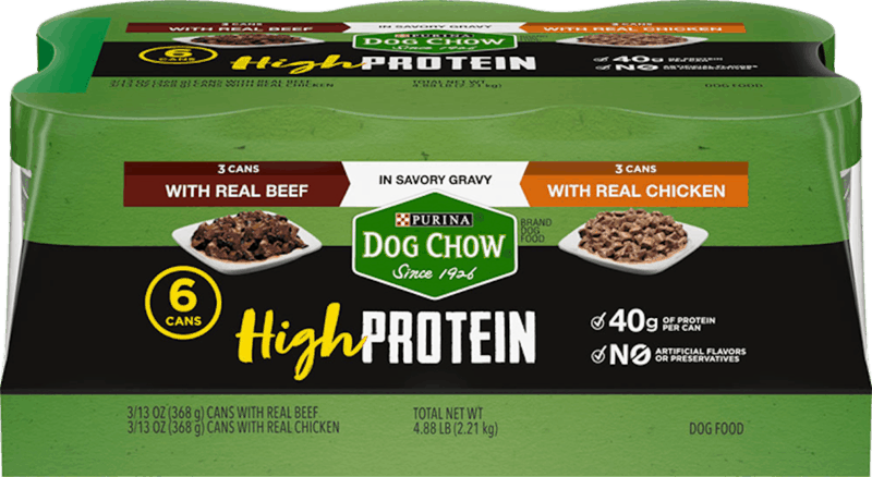 $1.50 for Purina Dog Chow High Protein Wet Dog Food (expiring on Sunday, 08/02/2020). Offer available at multiple stores.