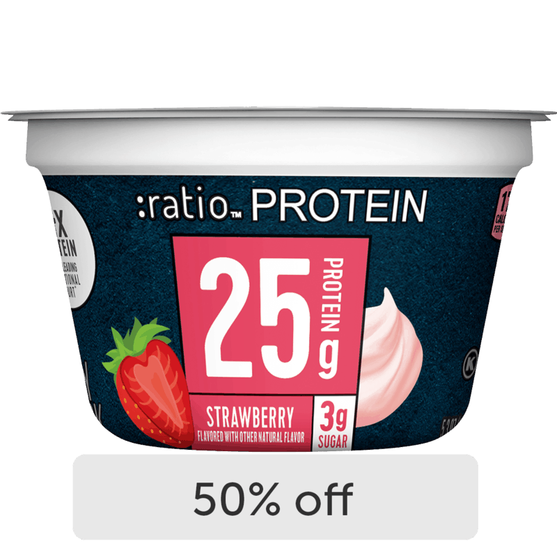 $0.95 for :ratio Protein Dairy Snack (expiring on Monday, 01/31/2022). Offer available at Hy-Vee.