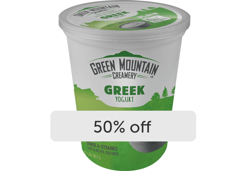 $2.75 for Green Mountain Creamery Yogurt (expiring on Friday, 04/30/2021). Offer available at multiple stores.