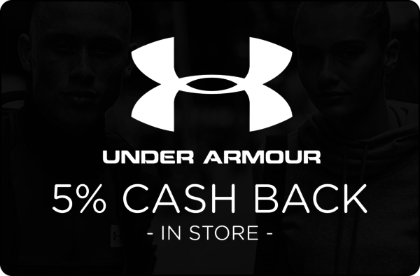 $0.00 for 5% cash back at Under Armour. (expiring on Sunday, 09/02/2018). Offer available at Under Armour.