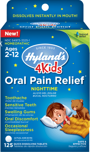$1.00 for Hyland's® 4 Kids Oral Pain Relief Nighttime Tablets (expiring on Saturday, 03/02/2019). Offer available at Walgreens, Rite Aid.