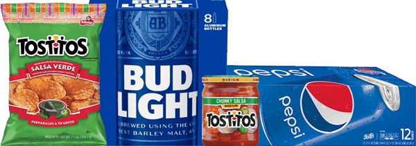 $4.00 for Bud Light® or Budweiser® AND Pepsi® AND TOSTITOS® Chips OR TOSTITOS® Dip Combo (expiring on Wednesday, 11/01/2017). Offer available at multiple stores.