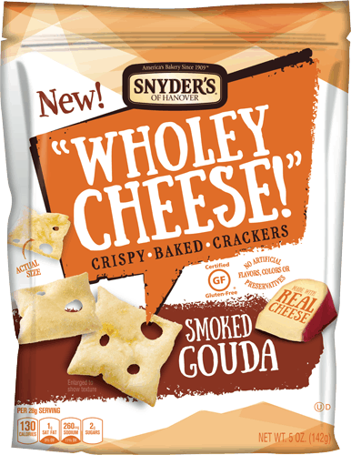 $1.00 for Snyder's of Hanover® Wholey Cheese! Crispy Baked Crackers (expiring on Thursday, 04/27/2017). Offer available at multiple stores.
