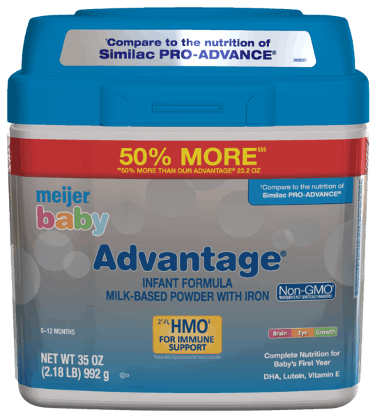 $3.00 for Meijer® Baby Advantage® Formula (expiring on Thursday, 05/02/2019). Offer available at Meijer.