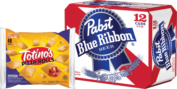 $4.00 for Pabst Blue Ribbon® Beer & Totino's™ Crisp Party Pizza™ OR Pizza Rolls™ Hot Snacks Combo. Offer available at multiple stores.