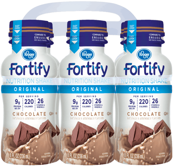 $1.00 for Kroger® Fortify Original Nutrition Shakes (expiring on Wednesday, 01/02/2019). Offer available at Kroger.