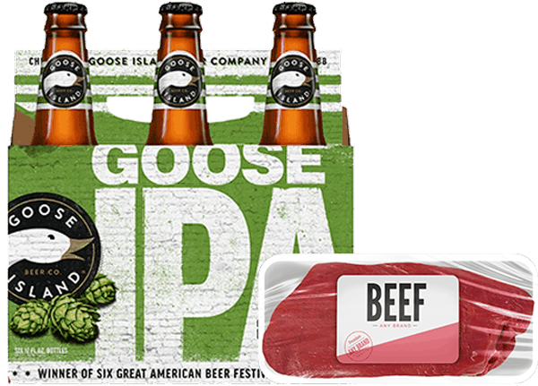 $3.00 for Goose Island® WITH Fresh or Frozen Meat, Seafood, BBQ Sauces, Rubs, Marinades OR Seasonings Combo (expiring on Wednesday, 01/31/2018). Offer available at multiple stores.