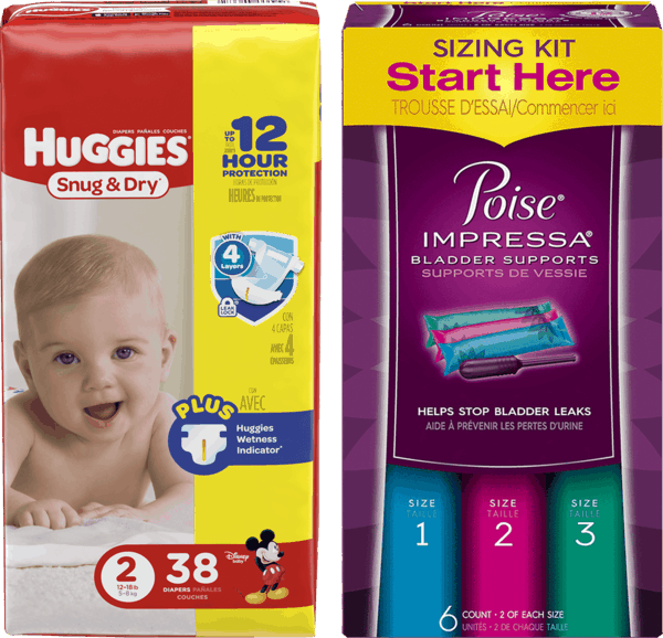 $5.00 for Huggies® Diapers & Poise® Impressa® Combo (expiring on Monday, 07/31/2017). Offer available at Walgreens.