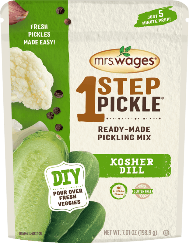 $1.00 for Mrs. Wages® 1 Step Pickle® Ready-Made Pickling Mix (expiring on Sunday, 02/02/2020). Offer available at Walmart.