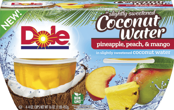 $1.00 for DOLE Fruit Bowls® in slightly sweetened Coconut Water (expiring on Thursday, 08/02/2018). Offer available at Publix.