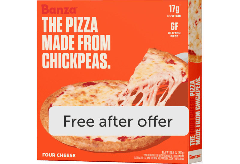 $7.99 for Banza pizza and plain crust (expiring on Monday, 05/31/2021). Offer available at Wegmans.