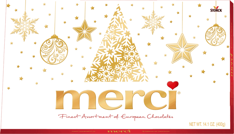 $2.50 for merci Holiday Assorted Chocolate Box (expiring on Monday, 05/31/2021). Offer available at Walmart, Walmart Pickup & Delivery.