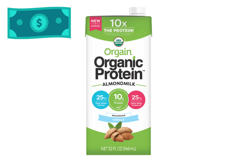 $1.50 for Orgain Organic Protein Almond Milk (expiring on Wednesday, 07/01/2020). Offer available at multiple stores.