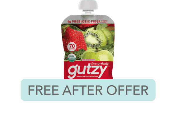 $2.00 for Gutzy™ Organic Plant-Based and Gut Healthy Snacks. Offer available at multiple stores.