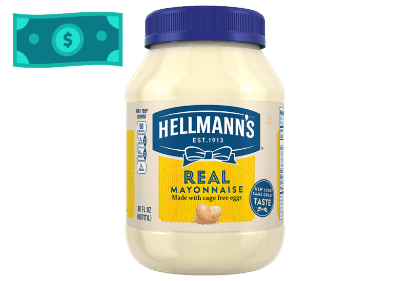 $1.00 for Hellmann's Real Mayonnaise. Offer available at multiple stores.