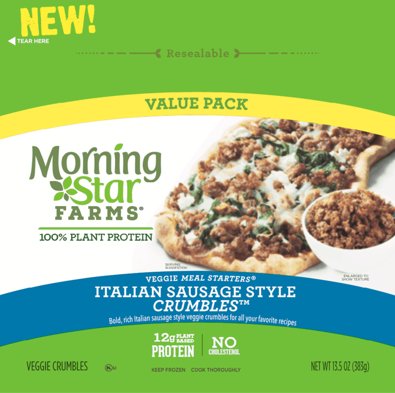 $1.00 for Morning Star Farms Italian Style Sausage Crumbles (expiring on Wednesday, 06/10/2020). Offer available at Walmart.