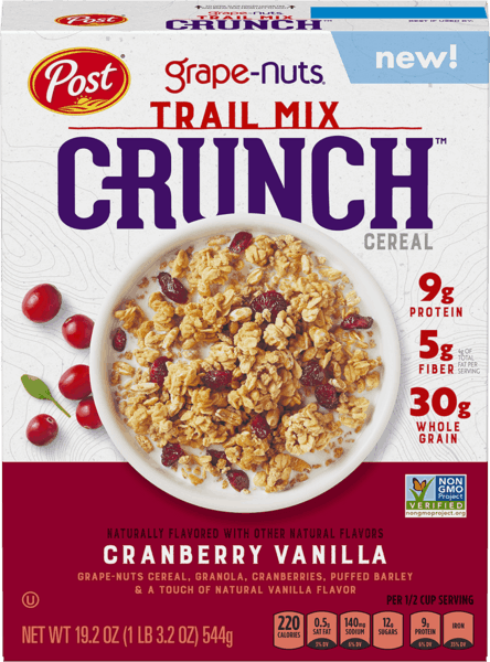 $1.00 for Post® Grape Nuts Trail Mix Crunch™ Cereal (expiring on Thursday, 03/22/2018). Offer available at Walmart.