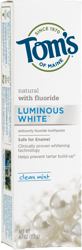 $1.00 for Tom's of Maine® Luminous White Toothpaste (expiring on Wednesday, 01/31/2018). Offer available at Walmart.