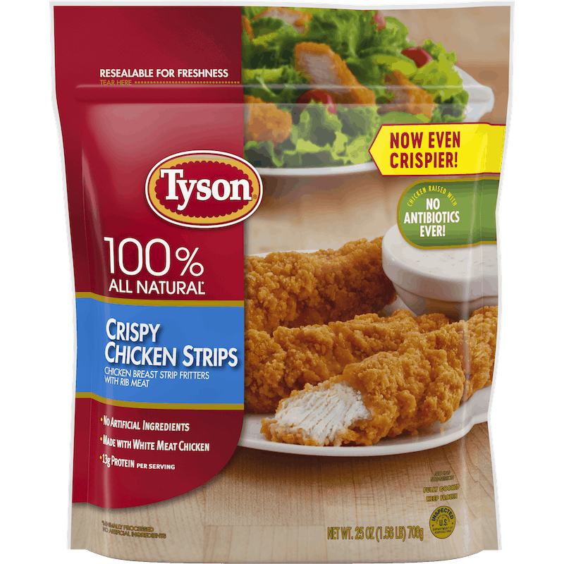 $0.25 for Tyson Crispy Chicken Strips (expiring on Thursday, 01/30/2020). Offer available at multiple stores.