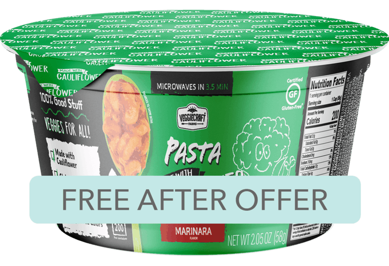 $1.98 for Veggiecraft Farms Pasta Cups with Marinara Sauce. Offer available at Walmart.