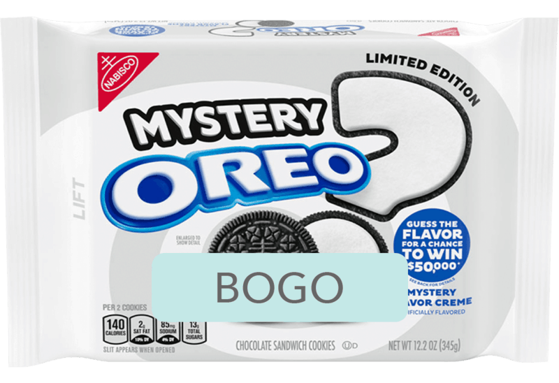 $2.98 for OREO Chocolate Sandwich Cookies, Limited Edition Mystery Flavor Creme (expiring on Monday, 03/16/2020). Offer available at Walmart.