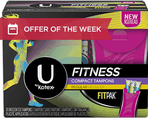 $1.50 for U by KOTEX® FITNESS Tampons (expiring on Saturday, 01/27/2018). Offer available at multiple stores.