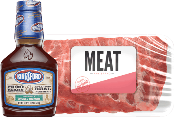 $4.00 for Kingsford® BBQ Sauce & Any Brand Fresh Meat Combo (expiring on Monday, 04/02/2018). Offer available at multiple stores.
