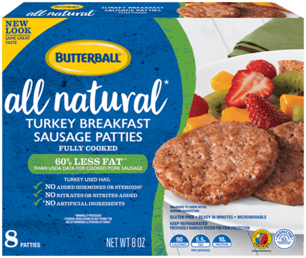 Butterball All Natural Turkey Breakfast Sausage Patties, 8 oz -- Buy 1 Get 1 Free