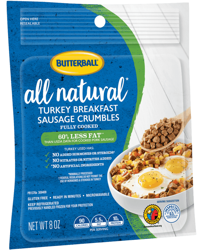 $1.25 for Butterball® All Natural Turkey Breakfast Sausage Crumbles (expiring on Friday, 03/06/2020). Offer available at Walmart.