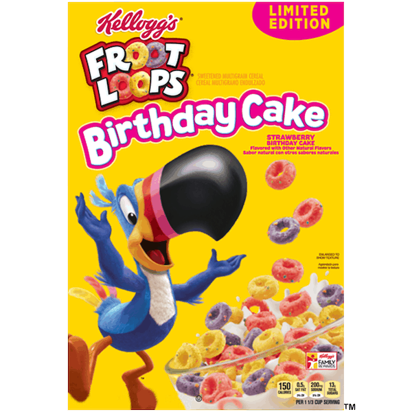 $1.00 for Kellogg's® Froot Loops® Birthday Cake Cereal (expiring on Thursday, 08/01/2019). Offer available at multiple stores.