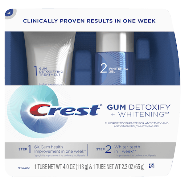 $0.25 for Crest® Gum Detoxify + Whitening™ Two-Step Toothpaste (expiring on Wednesday, 10/02/2019). Offer available at multiple stores.