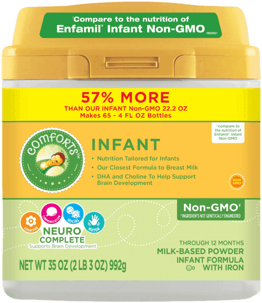 $2.00 for Comforts for Baby® Infant Non-GMO Infant Formula (expiring on Saturday, 06/02/2018). Offer available at multiple stores.