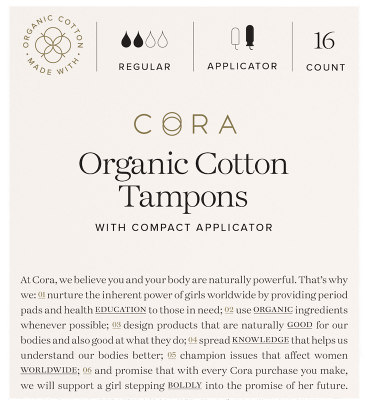 $0.75 for Cora Organic Cotton Tampons (expiring on Friday, 04/30/2021). Offer available at multiple stores.