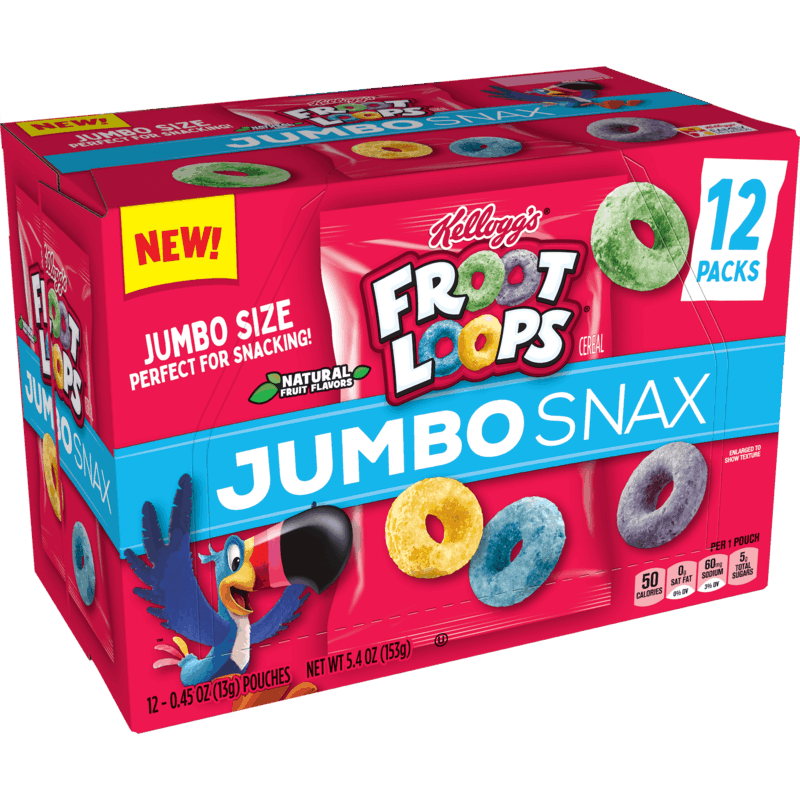 $2.50 for Kellogg's Froot Loops Jumbo Snax. Offer available at Walmart, Walmart Pickup & Delivery.