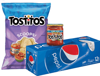 $1.00 for Pepsi® AND TOSTITOS® Chips OR TOSTITOS® Dip Combo. Offer available at multiple stores.