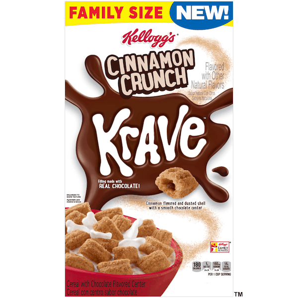 $1.00 for Kellogg's® Cinnamon Crunch Krave™ Cereal. Offer available at Walmart.