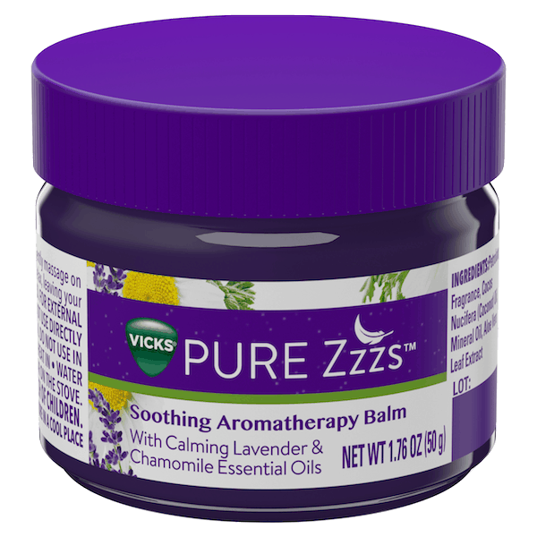 $1.50 for Vicks® PURE Zzzs™ Soothing Aromatherapy Balm. Offer available at Target, Walmart, Walgreens, CVS Pharmacy.