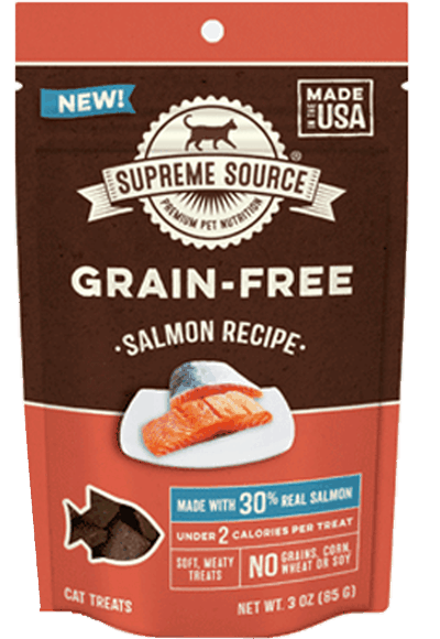 $2.00 for Supreme Source® Grain-Free Cat Treats (expiring on Monday, 01/01/2018). Offer available at Safeway, Food Lion, Albertsons.