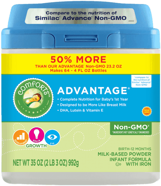 $2.00 for Comforts for Baby® Advantage® Non-GMO Infant Formula (expiring on Saturday, 06/02/2018). Offer available at multiple stores.