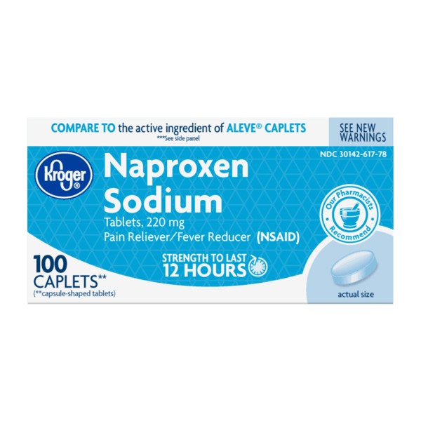 $1.00 for Kroger® Naproxen Sodium Caplets 220mg (expiring on Monday, 04/01/2019). Offer available at Kroger.