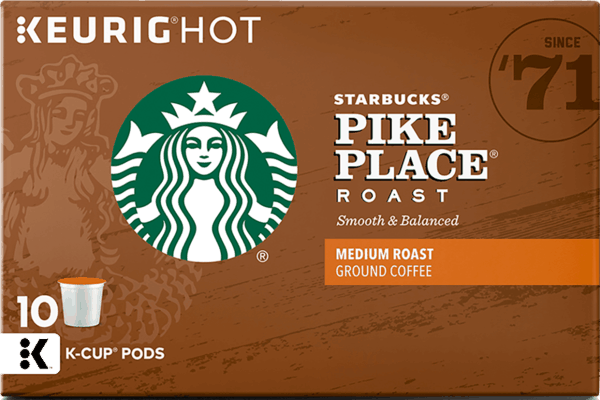 $1.50 for Starbucks® Coffee K-Cup® Pods (expiring on Tuesday, 04/02/2019). Offer available at multiple stores.