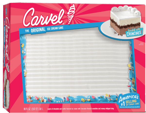 Custom Carvel ice cream cakes are offered in square, round and sheet cake shapes in two to three sizes. At no additional charge, you can choose to have a message written on your Carvel ice cream cake.