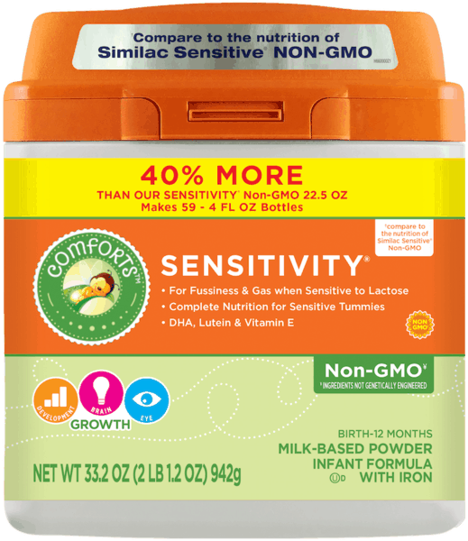 $2.00 for Comforts for Baby® Sensitivity® Non-GMO Infant Formula (expiring on Saturday, 06/02/2018). Offer available at multiple stores.