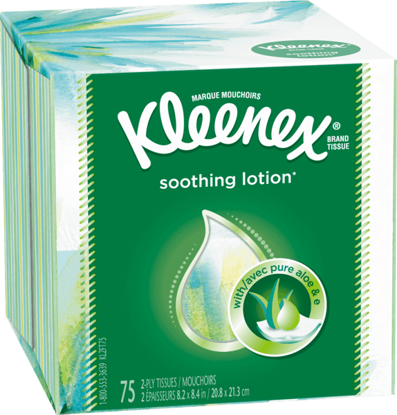 $1.00 for Kleenex® Soothing Lotion* Tissues. Offer available at multiple stores.