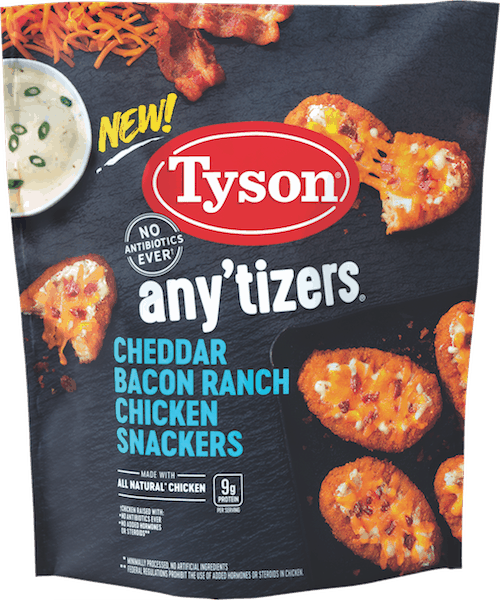$1.50 for Tyson® Any'tizers Chicken Snackers (expiring on Tuesday, 12/04/2018). Offer available at Walmart.