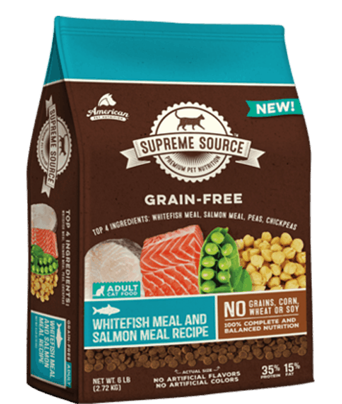 $3.50 for Supreme Source® Grain-Free Cat Food (expiring on Monday, 01/01/2018). Offer available at multiple stores.