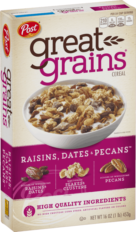 $0.50 for Post® Great Grains® Raisins Dates & Pecans Cereal. Offer available at multiple stores.
