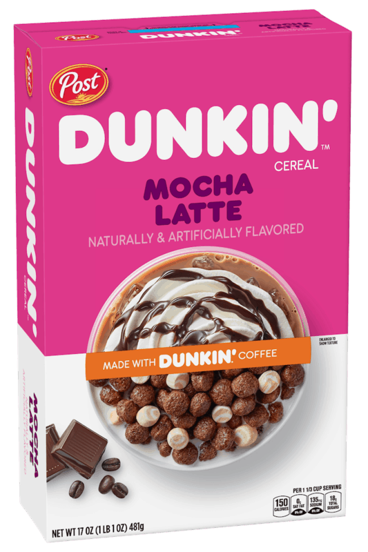 $1.00 for Post Dunkin' Mocha Latte Cereal (expiring on Tuesday, 10/19/2021). Offer available at multiple stores.